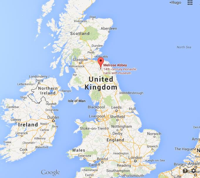 Where is Melrose Abbey on map of UK