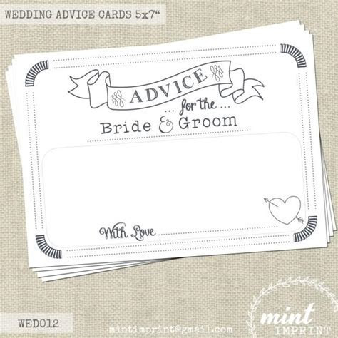 Wedding Advice Cards For The Bride And Groom / Wedding