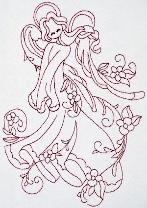 Floral Angels Redwork