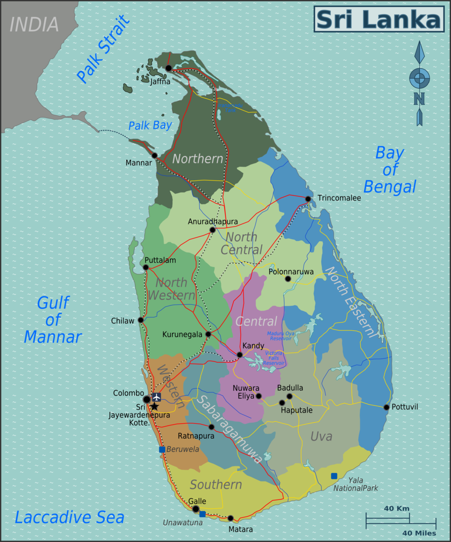 Map of Sri Lanka with provincial regions colour-coded