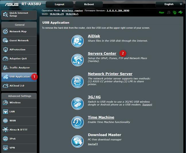 Acceda al Centro de servidores en su enrutador ASUS