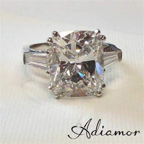 5 carat rectangular cushion cut three stone ring with