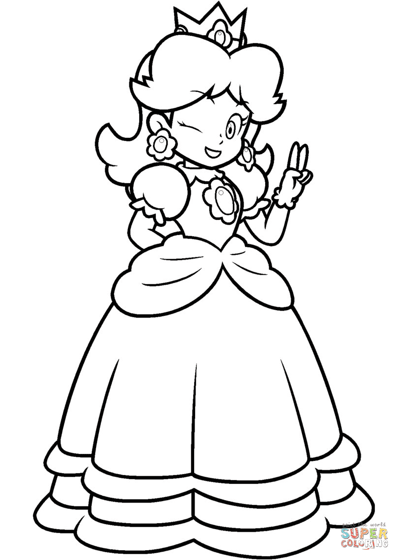 Kleurplaten Mario En Peach.15 Princess Peach Mario Kart Coloring Pages Top Free Printable