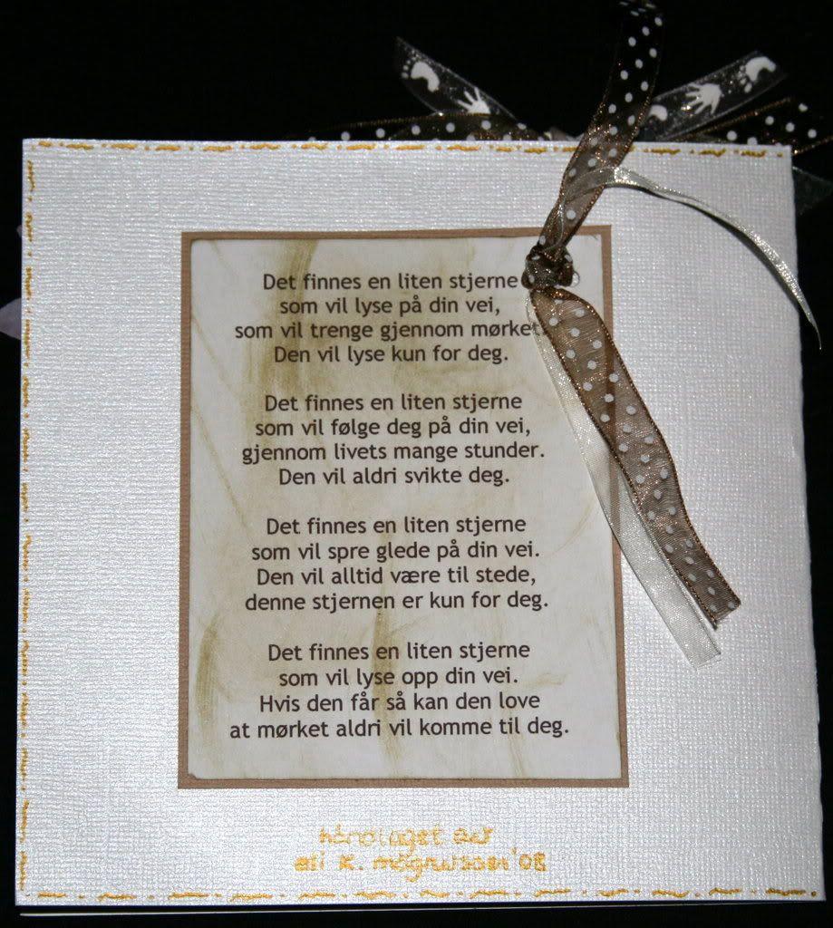 Et lite dikt på baksiden av kortet også...