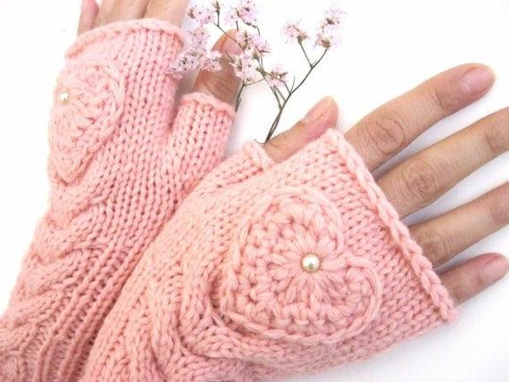 TENDER LOVE...   Pink Fingerless Gloves with a  HEART