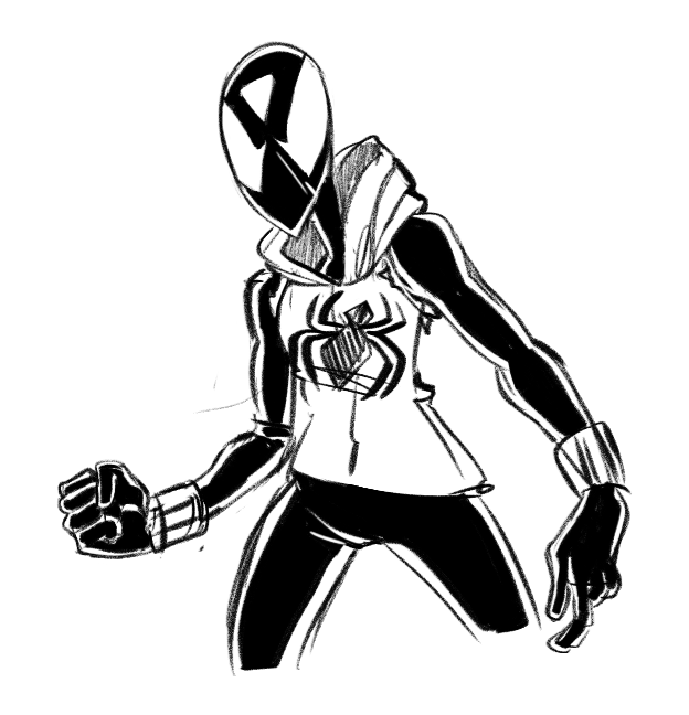 a bunch more spider-dot doodles trying out a couple of alternate spidey-suit designs. if I end up really liking one i might like. integrate it into a comic or somethin idk?? the first one looks a bit...