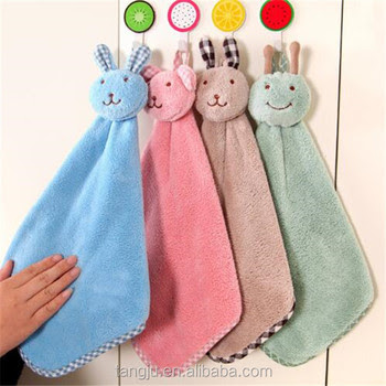 Cartoon Hanging Hand Towel Microfiber Hand Kitchen Gadgets Cleaning