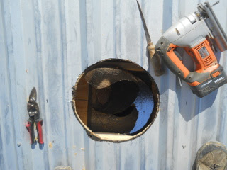 Roof Stove Pipe Hole Cut