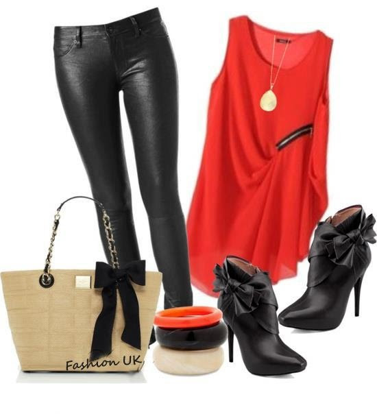 Love this red top with 'leather' pants and ancle boots!