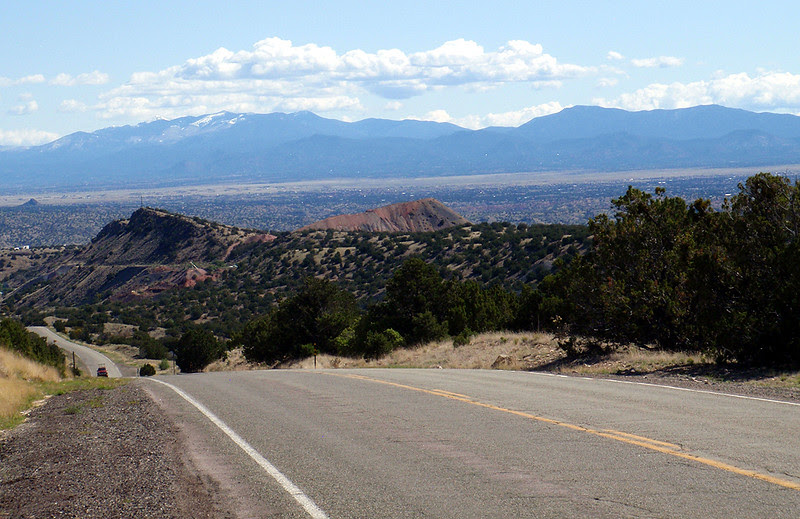 Looking toward Santa Fe and the Sangre de Cristo Mountains, New Mexico, from the road up Stagecoach Pass..