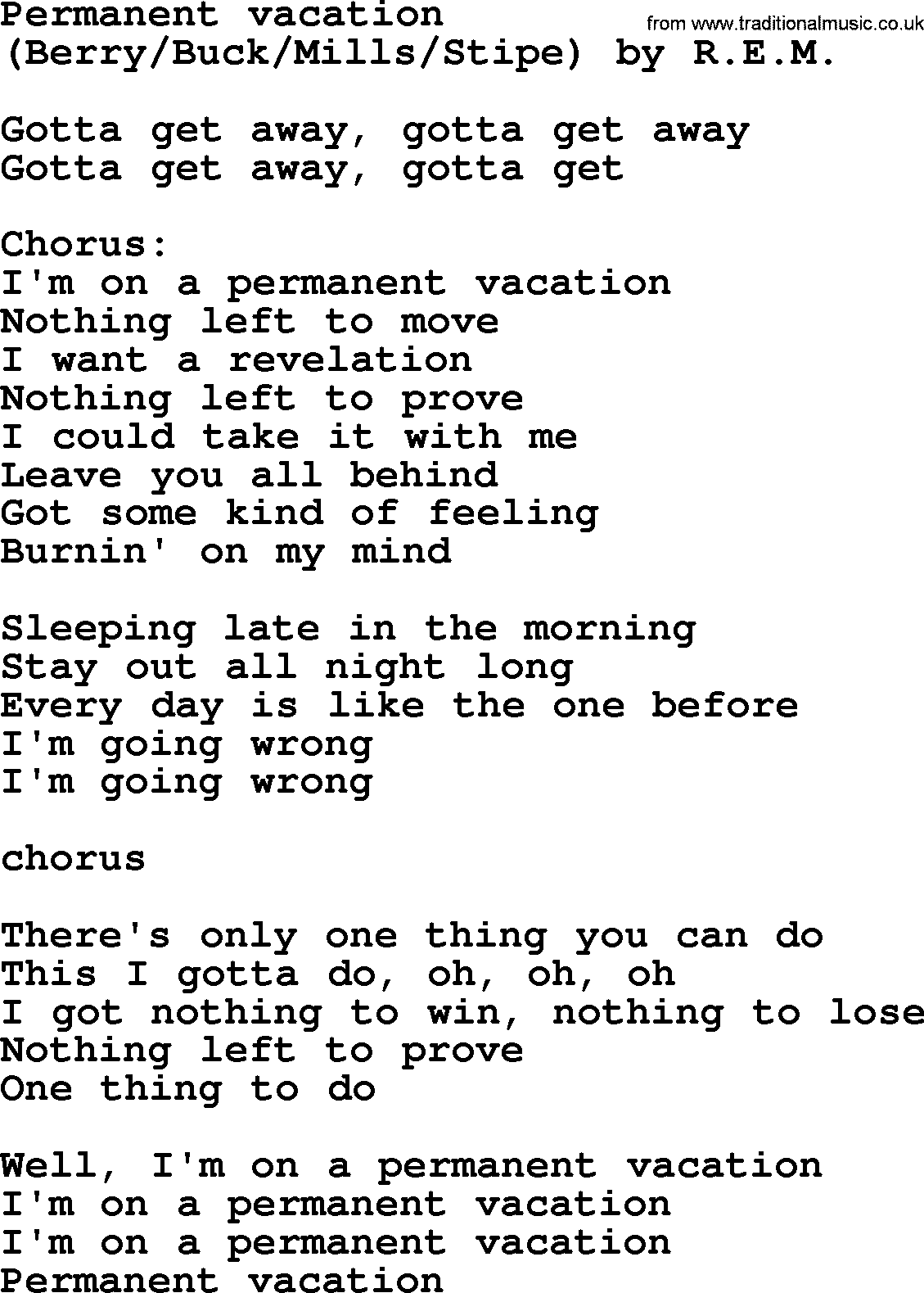 Bruce Springsteen song: Permanent Vacation, lyrics
