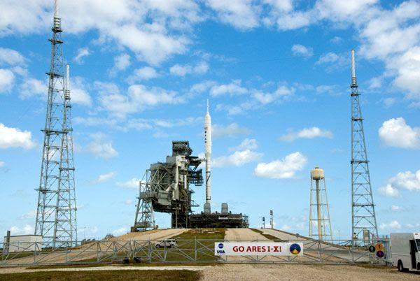 The ARES I-X rocket at Launch Complex 39B at NASA's Kennedy Space Center in Florida, on October 20, 2009.