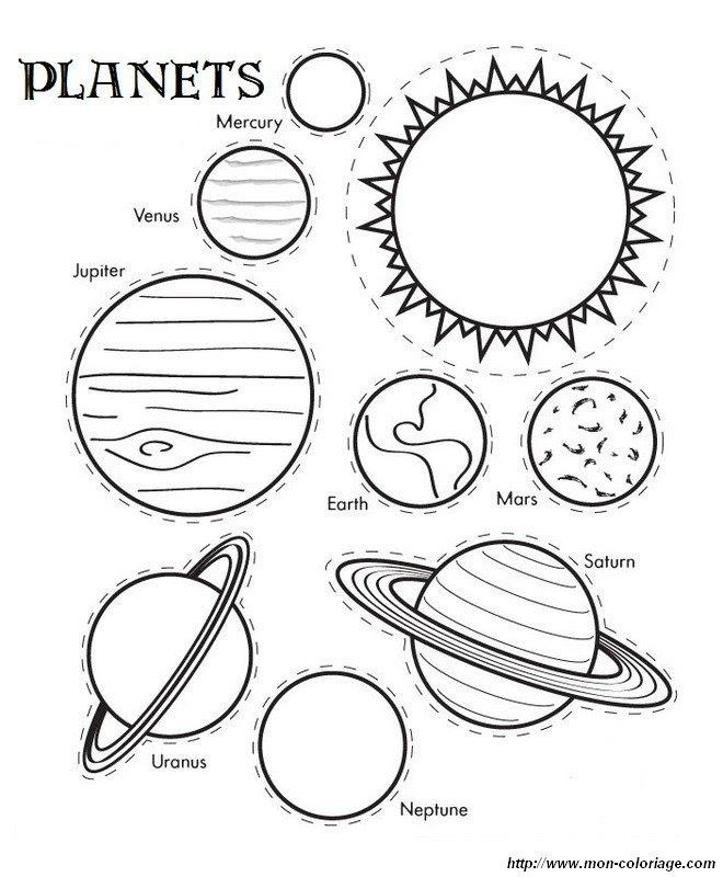 Ausmalbilder Ausschneiden Und Scrapbooking, Bild Planeten