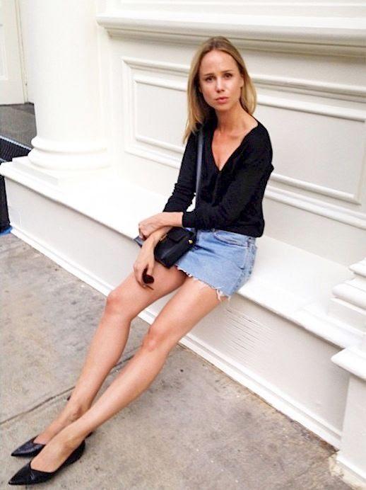 Le Fashion Blog Minimal Style Black Long Sleeved Top Leather Bag Mini Denim Skirt Black Pointed Toe Flats Via @elinkling