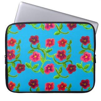 Petunia Flower Design on Laptop Sleeve