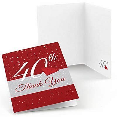 40th Anniversary   Wedding Anniversary Thank You Cards