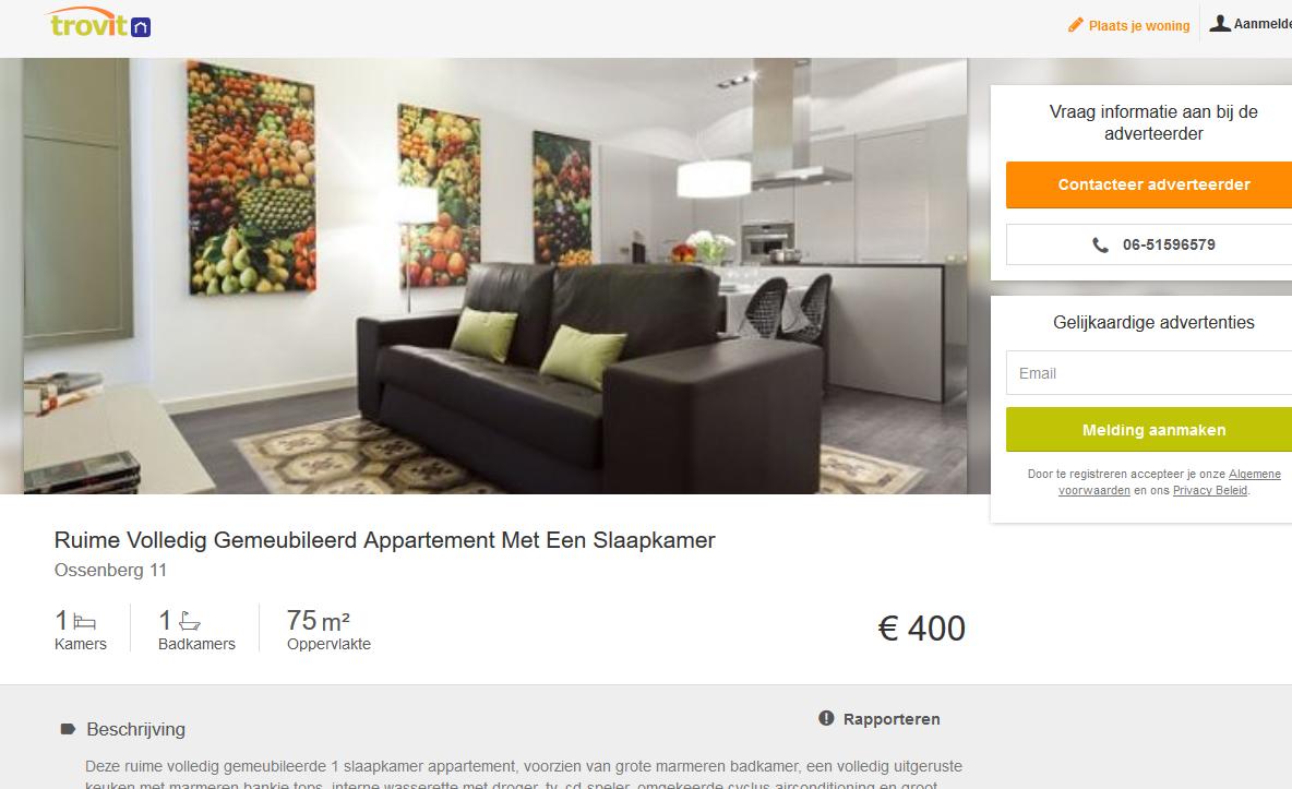 06 51596579 ruime volledig gemeubileerd appartement met een - Volledig gemeubileerd ...
