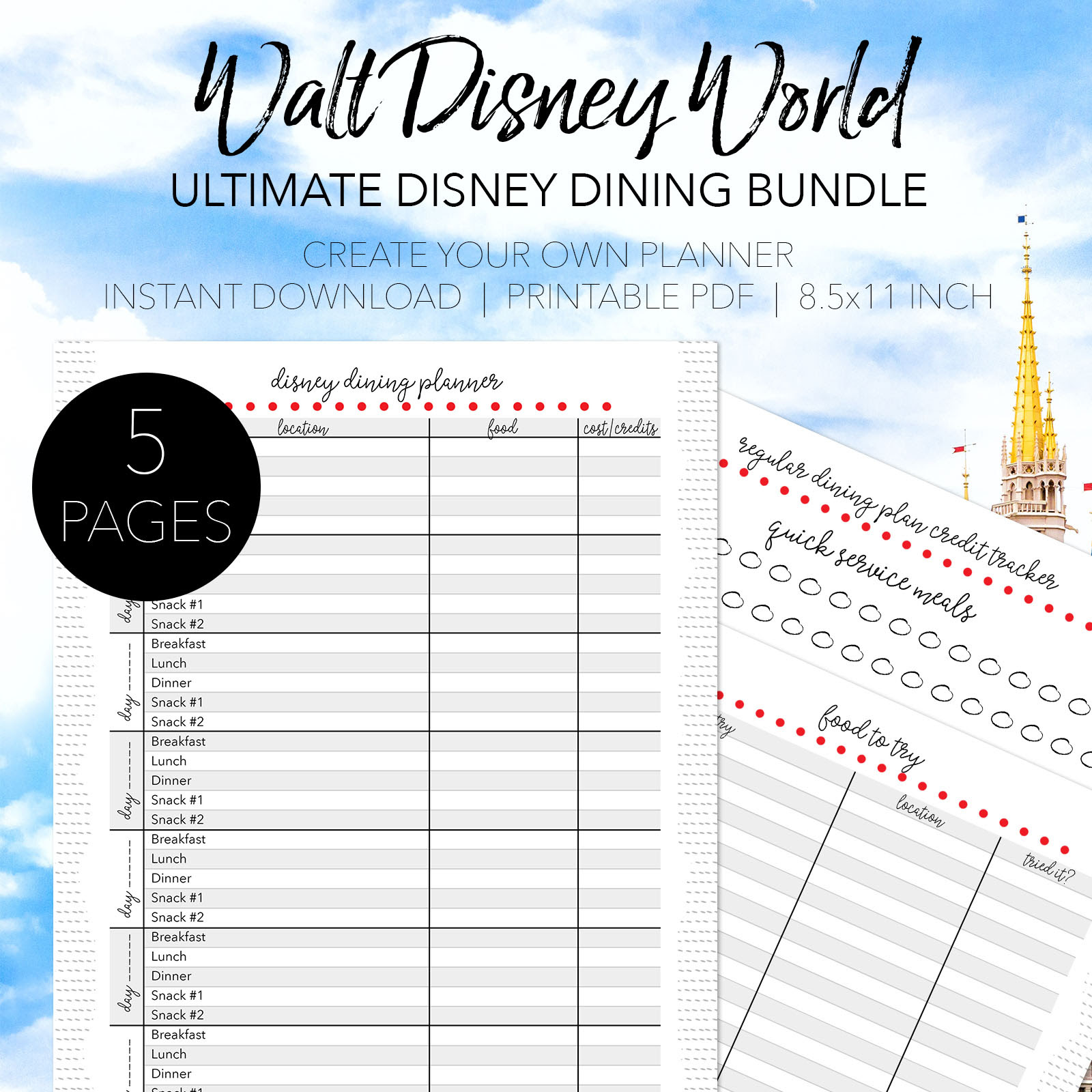 Walt Disney World Dining Planner  Dream Plan Fly