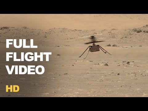 Ingenuity, NASA's Mars helicopter, takes off on the world's first powered flight.
