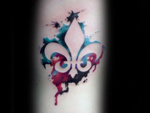 Amazing Fleur De Lis Watercolor Tattoo On Arm