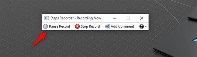 Pausar grabación en Steps Recorder