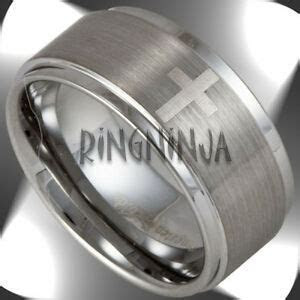 10mm Wide Mens Tungsten Ring w 4 Christian Crosses Wedding