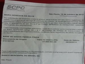 Carta de cobrança enviada pelo SCPC em outubro (Foto: Suellen Fernandes/G1)
