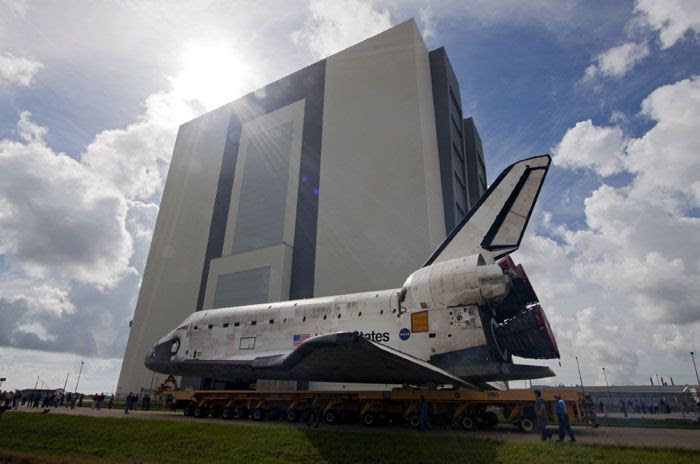 The orbiter DISCOVERY is rolled over to the Vehicle Assembly Building at Kennedy Space Center in Florida for STS-133 launch preparations, on September 9, 2010.