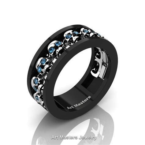 Mens Modern 14K Black and White Gold Blue Topaz Skull