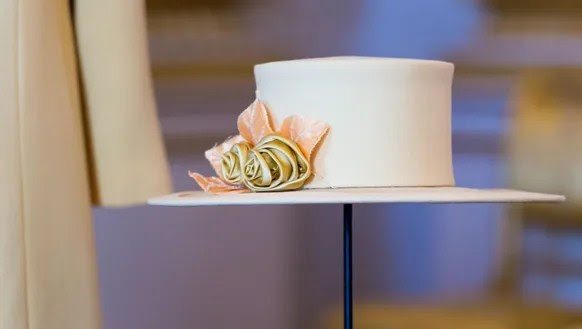 The queen's hat, designed by Angela Kelly and worn