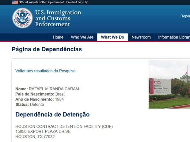 Empresário Rafael Caram está preso em Houston, nos Estados Unidos (Foto: Reprodução)