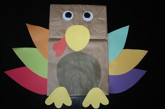 Preschool crafts for kids thanksgiving day paper bag for Pre k turkey crafts