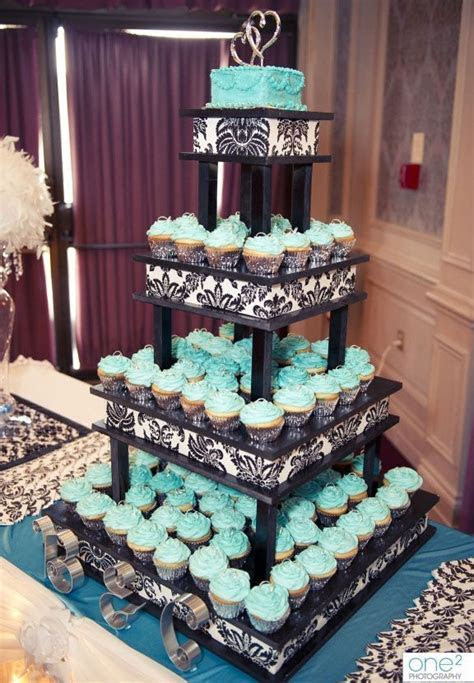 Turquoise cupcake stand with black and white details #