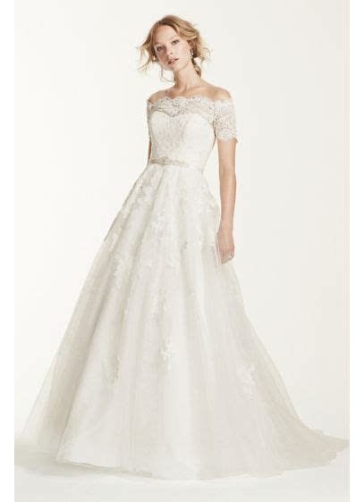 Jewel Short Sleeve Off The Shoulder Wedding Dress   David