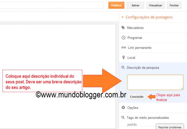 adicionar descrição individual na postagem do blogger