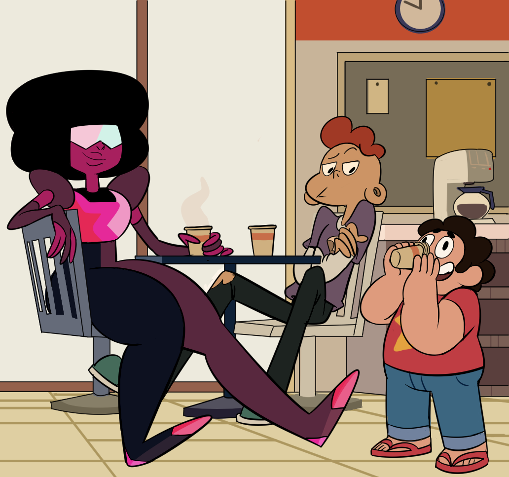 "req for lattemonstr ""garnet and lars drinking coffee for breakfast while steven does something ridiculous and they're both just lookin at him like yep"" Garnet drinks coffee for breakfast!"