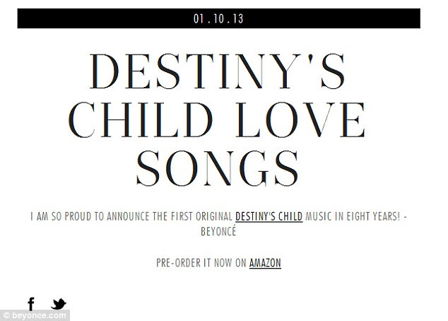 Listen up world: On Thursday Beyoncé announced that Destiny's Child are releasing their first album of original music on January 29, 2013