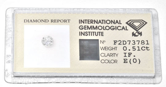 Original-Foto 1, DIAMANT, IGI, 0,51ct LUPENREIN RIVER, SG/SG NONE JUWEL!
