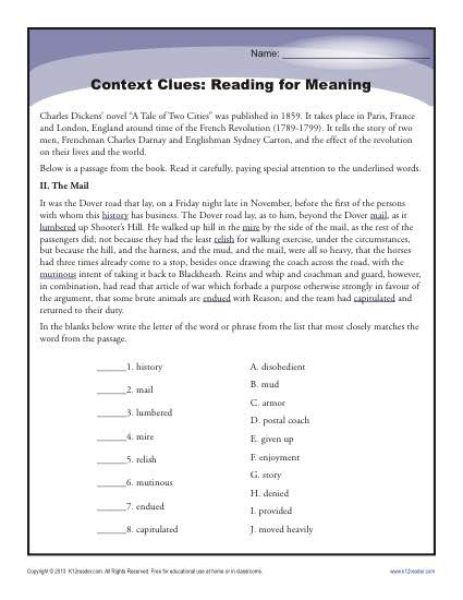 Context Clues: Reading for Meaning  High School Worksheets