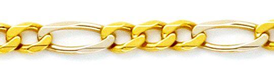 Foto 2, Massive Gold-Kette Figaro Gelbgold Weissgold 18K Luxus!, K2177