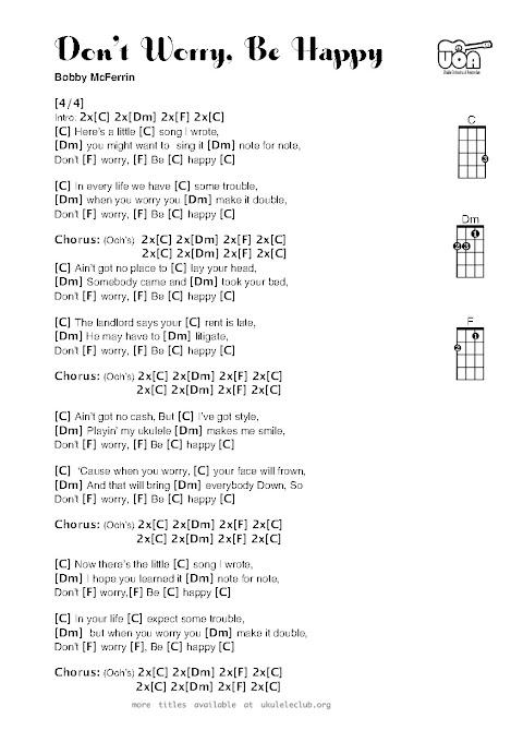 Don T Worry Be Happy Lyrics Ukulele Chords
