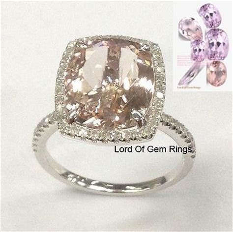 $753 Cushion Morganite Engagement Ring Diamond Wedding