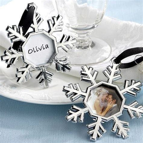Snowflake Place Card Picture Frame Tree Ornaments (Set of 4)