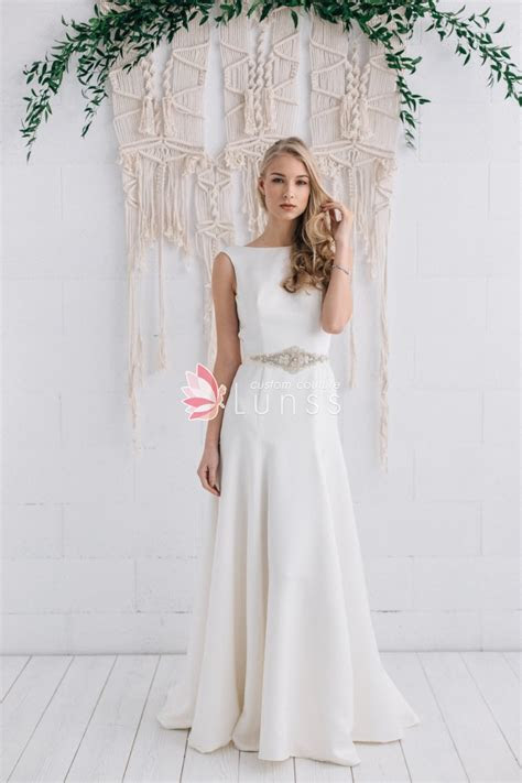 Ivory Fit and Flare Bateau Neckline Long Satin Classic