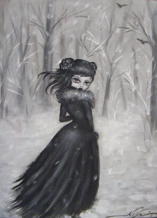 DEPARTURE black and white  victorian gothic vampire big eye giclee stretched CANVAS by Nina Friday - ninafriday
