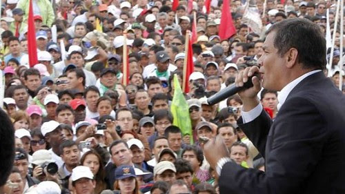 Ecuadorean President Rafael Correa speaking to the masses in this South American state. Correa said that he would not attend the Summit of the Americas due to the exclusion of Cuba. by Pan-African News Wire File Photos