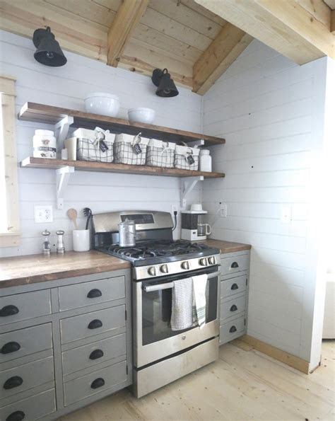 ana white open shelves   cabin kitchen diy projects