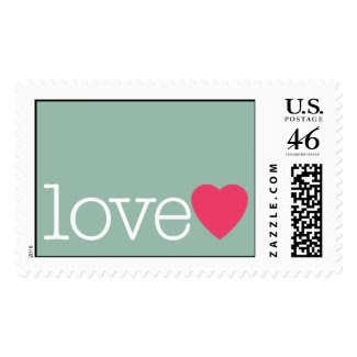 Love with a bright pink heart postage stamp