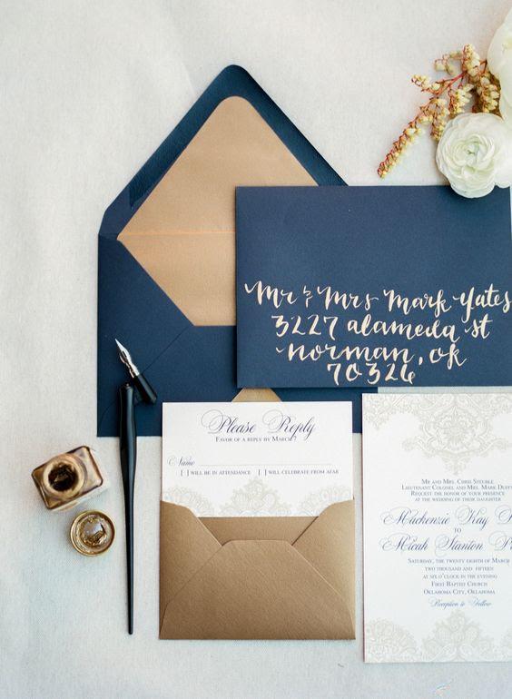 navy und gold Hochzeit Briefpapier für diejenigen, die gewählt haben, zu einem der beliebtesten Farb-combos für Ihre Hochzeit