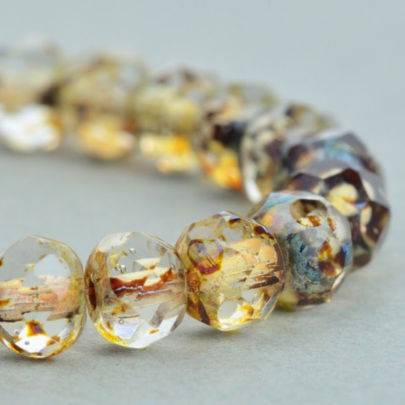 s49089 Czech Glass - 5 x 3 mm Faceted Donut Rondelle - Crystal Picasso (30)